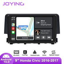 9Inch Android10 Phát Thanh Xe Hơi Dành Cho Xe Honda Civic 2016 2019 Trái/Phải Ổ GPS DSP Carplay SPDIF Loa Siêu Trầm DAB Android Tự Động 5GWIFI DAB