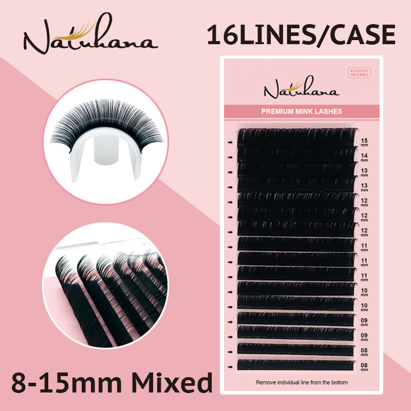 NATUHANA Mix 8~15 Mm 16 Lines Handmade Korean Pbt Eyelash Extension Natural Soft Faux Mink Eyelashes False Lashes For Extension