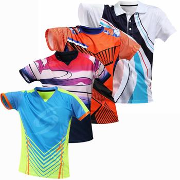 Nowe koszulki tenisowe męskie damskie koszulka do badmintona koszulki Polo do tenisa stołowego koszulki do tenisa stołowego sportowe koszulki do biegania tanie i dobre opinie wsryxxsc Poliester spandex Krótki Koszule Denim table tennis Badminton Pasuje prawda na wymiar weź swój normalny rozmiar