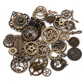 40pcs/set Retro Electroplated Metal Gear Kit Mixed Mechanical Gears Clock Watch Accessories For DIY Handmade Parts - discount item  29% OFF Hardware