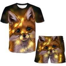 Summer children round neck short sleeve T-shirt set 3D print cat cartoon design boys and girls casual 2021 new