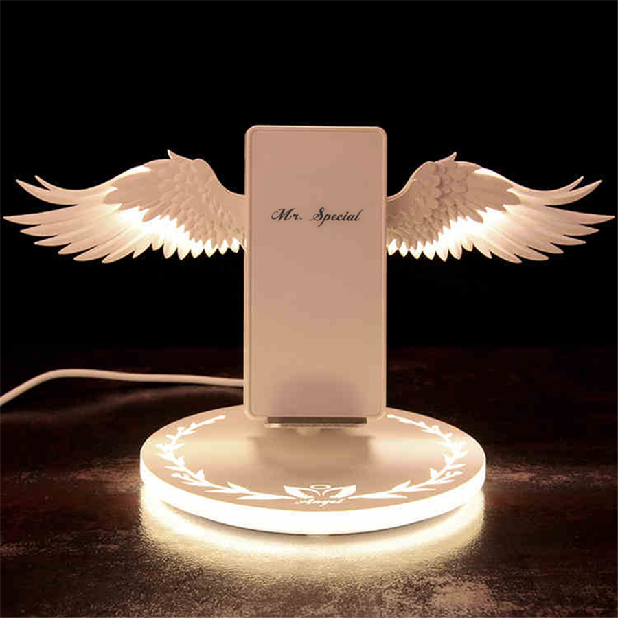 10W Wireless Charger Angel Wings Magic Quick Charging Pad for iPhone x xs max 8 Samsung s10 S9 S8 Note8 Note10 QI charger