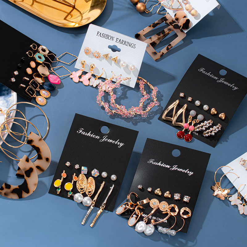 Neue Mode Koreanische Acryl Drop Schmetterling Ohrringe Für Frauen Geometrische Runde Kristall Baumeln Ohrringe Set 2020 Brincos Schmuck