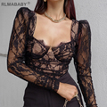 Fashion Spring Summer Women Bustier Lace Tshirts V Neck Long Sleeve Transparent Office Lady Top Sexy Elegant High Street T-shirt