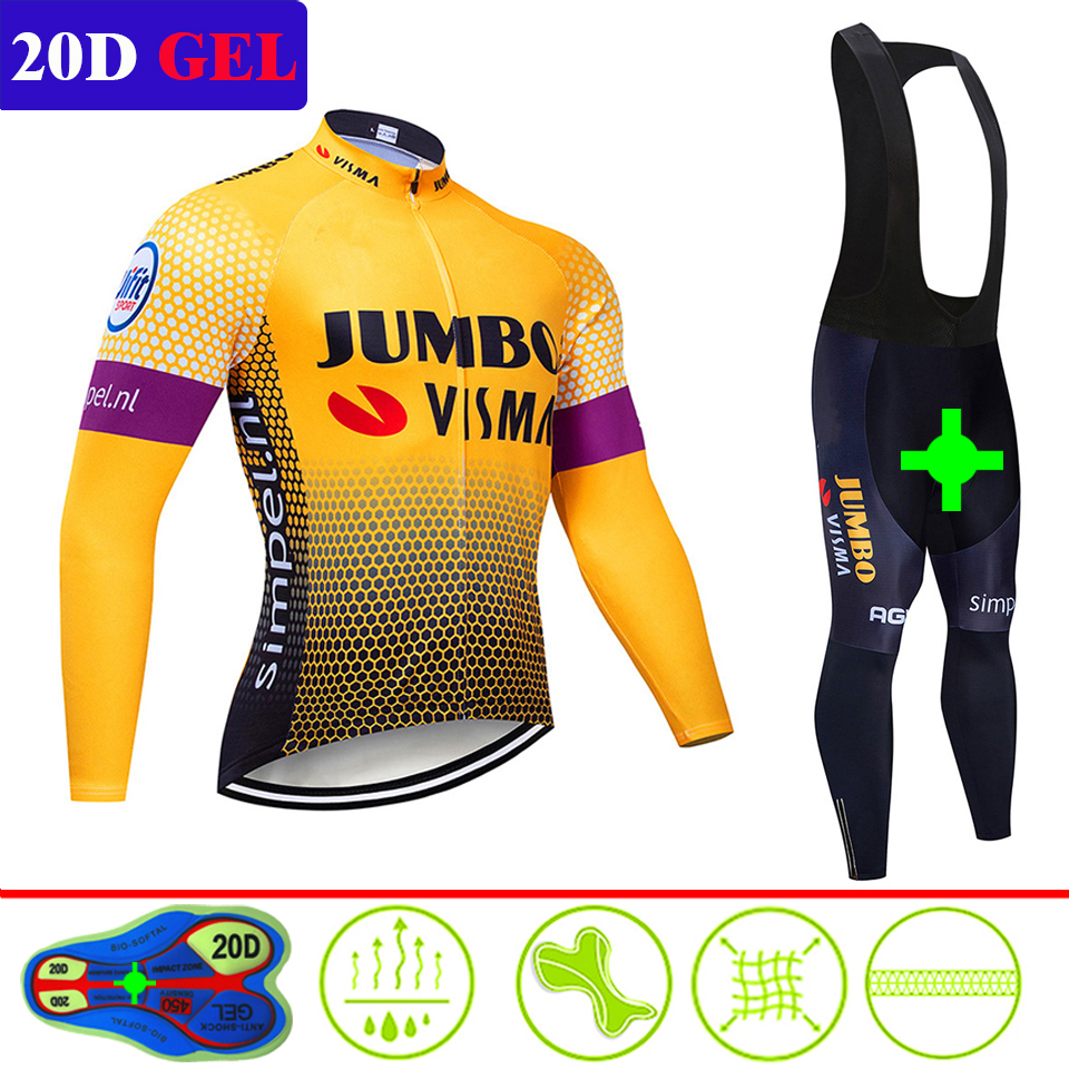 2019 Jumbo Visma Spring Cycling Jersey Bib Pants Set Long Autumn Road Bike Bicycle Clothing MTB Mallot Ropa Ciclismo Hombre