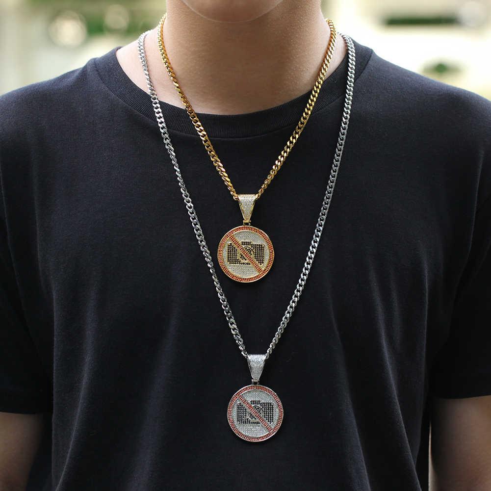 UWIN okrągły Tag naszyjniki wisiorek nie ma zdjęć kształt z kubański łańcuch złoty kolor Iced Out Cubic cyrkon moda Hiphop mężczyzna biżuteria