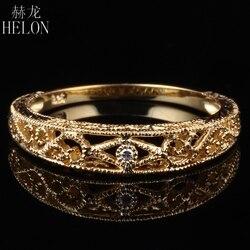 HELON stałe 10K żółte złoto filigran naturalny SI/H okrągły diament pełna Cut obrączka Vantage Art Deco kobiety Trendy biżuterii