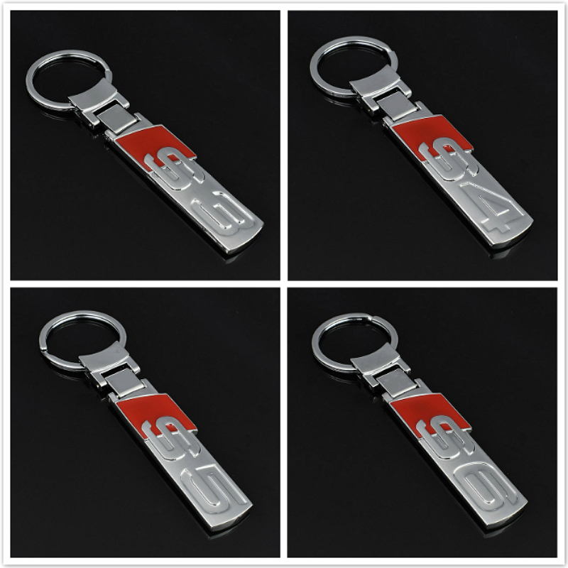 1 Pcs Creative Electroplated Silver Metal Car Styling Key Ring Accessories For Audi S3 S4 S5 S6 Car Keychain Key Chain Key Ring