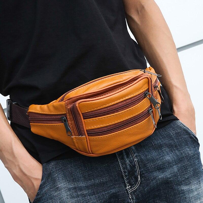 LKEEP Brand Fashion Men Genuine Leather Waist Packs Men Organizer Travel Waist Pack Necessity Waist Belt Mobile Phone Bag