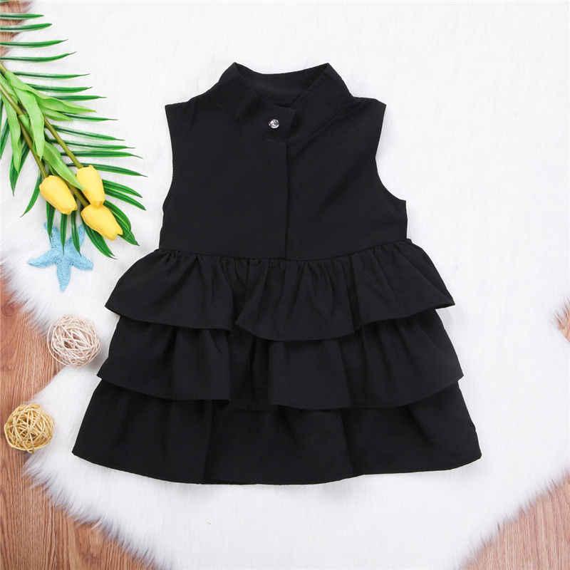 Summer Cute Black Green Ball Gown Girls Dresses Kid Girl Party Dress Sleeveless O Neck Cake Ruffled Tutu Bubble Dress 2-6T