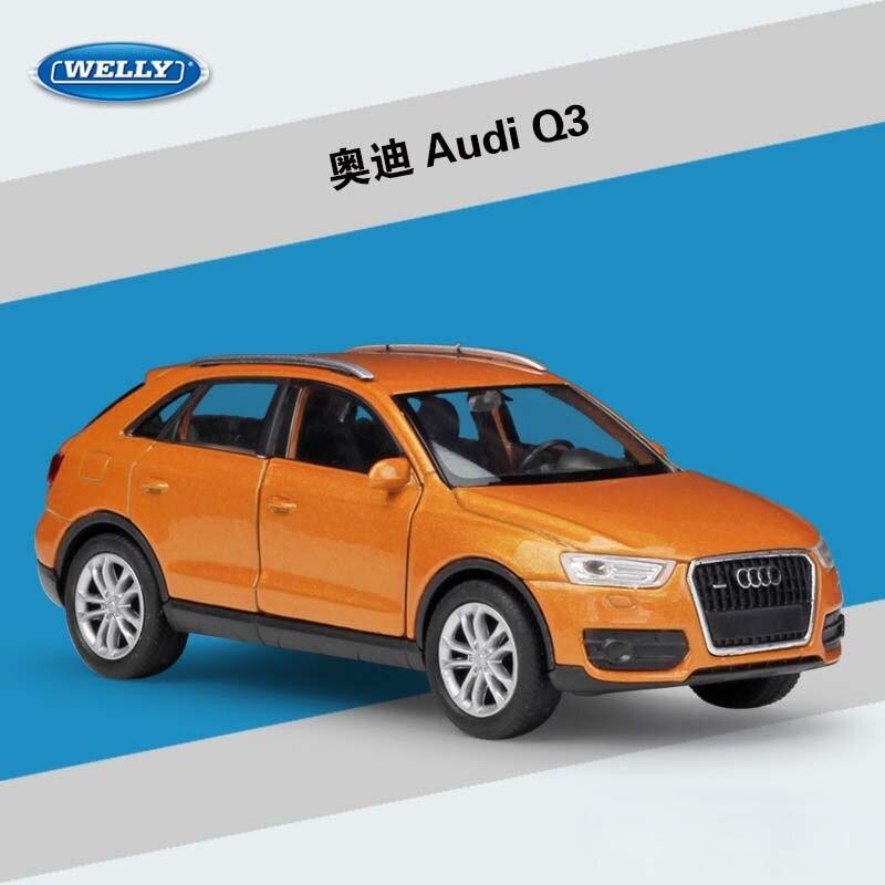 WELLY 136 échelle métal modèle jouet voiture Audi Q3/Q7 SUV classique alliage moulé sous pression véhicule tirer arrière voiture jouets pour enfants cadeau Collection