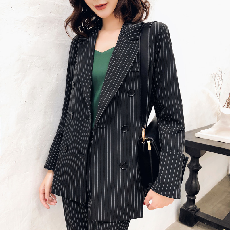 Blaser Feminino New Korean Casual Formal Suits For Women Casual Striped Double Breasted Blazer Women Suitpants 2143
