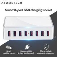 40W 8 포트 USB 충전기 어댑터 허브 충전 스테이션 소켓 전화 충전기 아이폰 6 7 8 삼성 xiaomi 화웨이 미국 EU 영국 AU 플러그