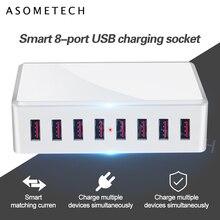 "40W 8 יציאות USB מטען מתאם רכזת טעינת תחנת שקע טלפון מטען עבור iPhone 6 7 8 סמסונג xiaomi huawei ארה""ב האיחוד האירופי בבריטניה AU Plug"