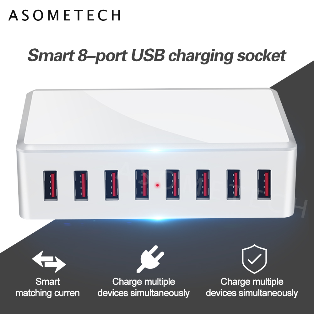 40W 8Ports USB Charger Adapter HUB Charging Station Socket Phone Charger For iPhone 6 7 8 samsung xiaomi huawei US EU UK AU Plug|Mobile Phone Chargers| |  - title=
