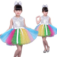 Girl Kid Rainbow Sequin Tutu Ballet Dance Dress Party Princess Wedding Costume 904-A914