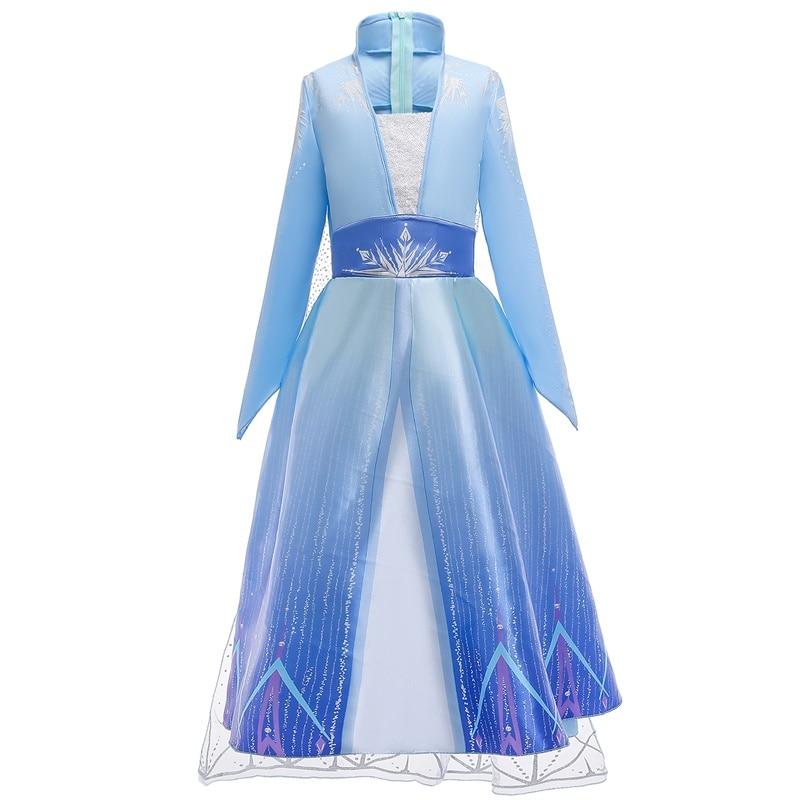 New Snow Queen Elsa 2 Christmas Dress Kids Halloween Carnival Costume Girls Crystal Light Blue Long Sleeve Princess Dress 4