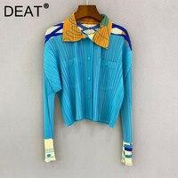 DEAT-chaquetas plisadas para mujer, abrigo de manga larga con solapa y bolsillos, Color azul, estilo informal, moda de otoño, 15JK063, 2021
