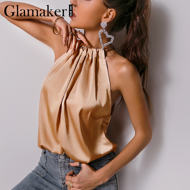 Glamaker Satin Ruffles casual  loose sleeveless sexy top Women elegant office ladies all-match pleated summer top new 2021 2