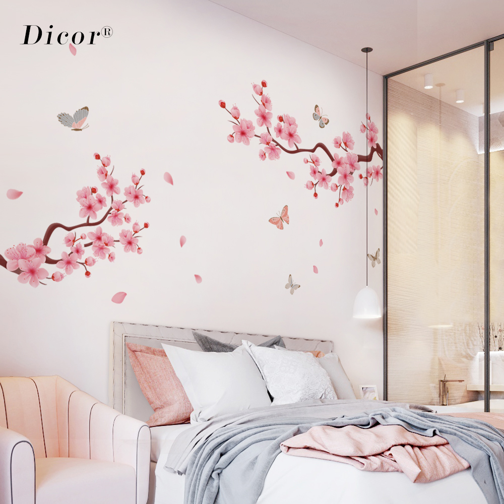 2Pcs/Set Large Living Room Wall Sticker Flowers Peach Blossom Pink Cherry Blossoms Romantic Nordic Style Modern Home Decor 2019