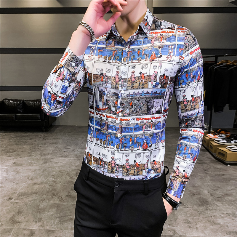 Blusa Estampada Masculina Shirt Men Long Sleeve Streetwear Shirt 2020 Spring Slim Fit Night Club Party Shirts Camisa Masculina
