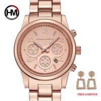 1 set classico da donna in oro rosa Top Brand Luxury Lady Dress Business Fashion Casual orologi impermeabili orologio da polso al quarzo