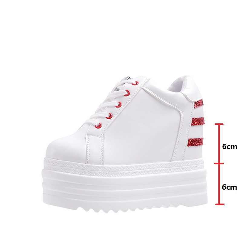 סתיו נשים טריזי נעלי גופר תחרה למעלה גבירותיי לבן פלטפורמת נעלי גובה הגדלת סניקרס נקבה אופנה הנעלה