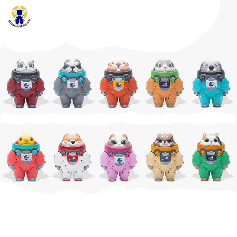 10 pcs/set New Space Adventure Doll Blind Box Mini Animal Astronaut Figures Toys Set of 10 Action Figures Hand to Do OrnamentsAction & Toy Figures   -