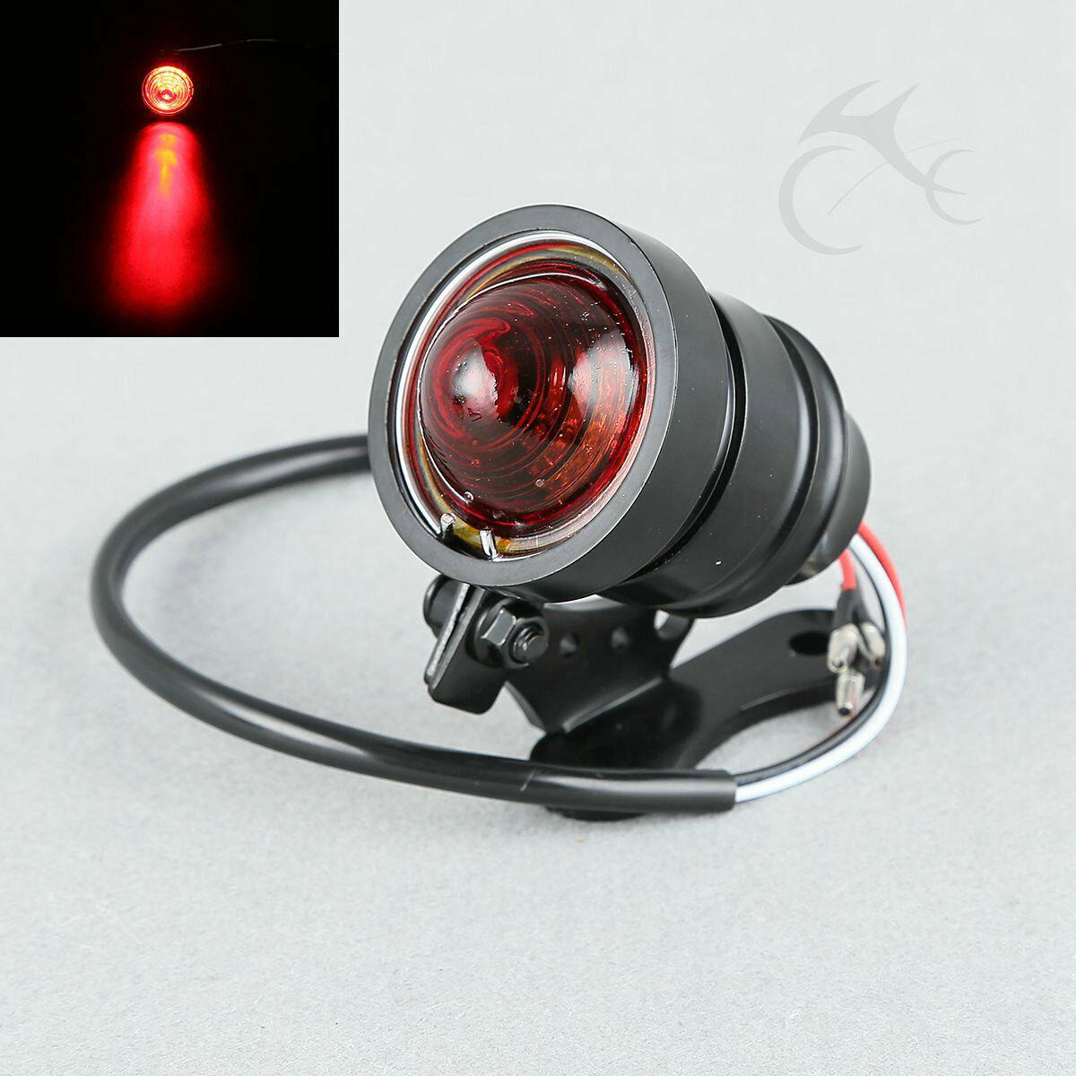 Chrome Ring Black LED Brake Tail Light For Motorcycle Chopper Bobber Cafe Racer