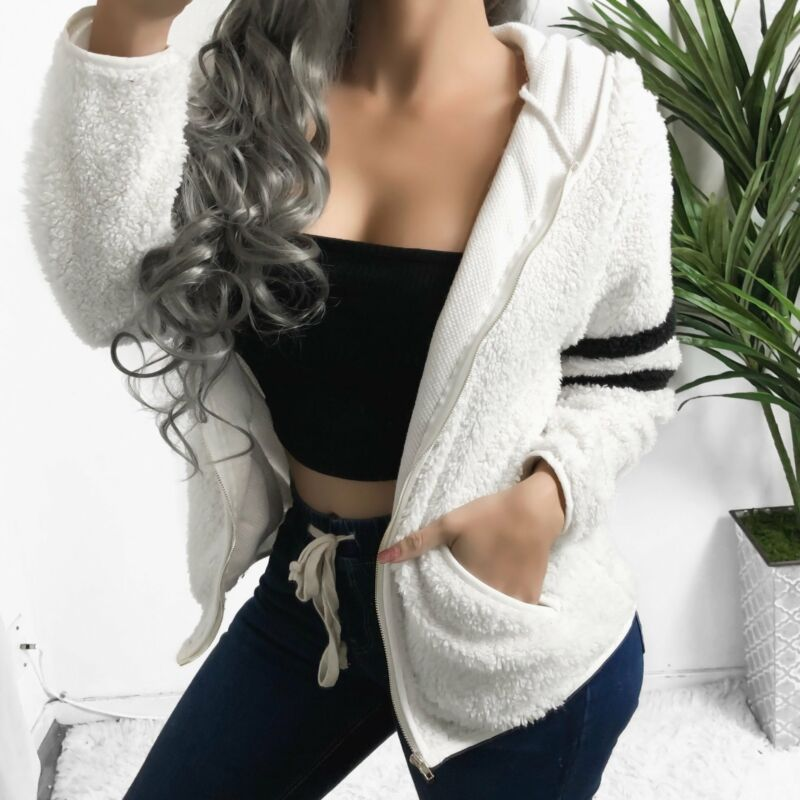 Goocheer Women Winter Warm Hooded Fleece Jacket Ladies Coats Cardigans Sleeve Stripe Circle Pattern Outwear Plus Size S-XL