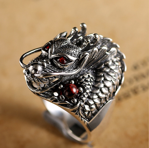Vintage Punk Gothic Ring Men's Fashion Dragon Men's Ring Halloween Jewelry