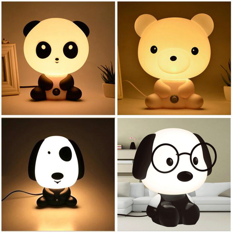 Panda/Rabbit/Dog/Bear Baby Night Light Kids Cartoon Animal 3D Lamp Children's Bedroom Toys Gifts Mood Light Decoration Dropship