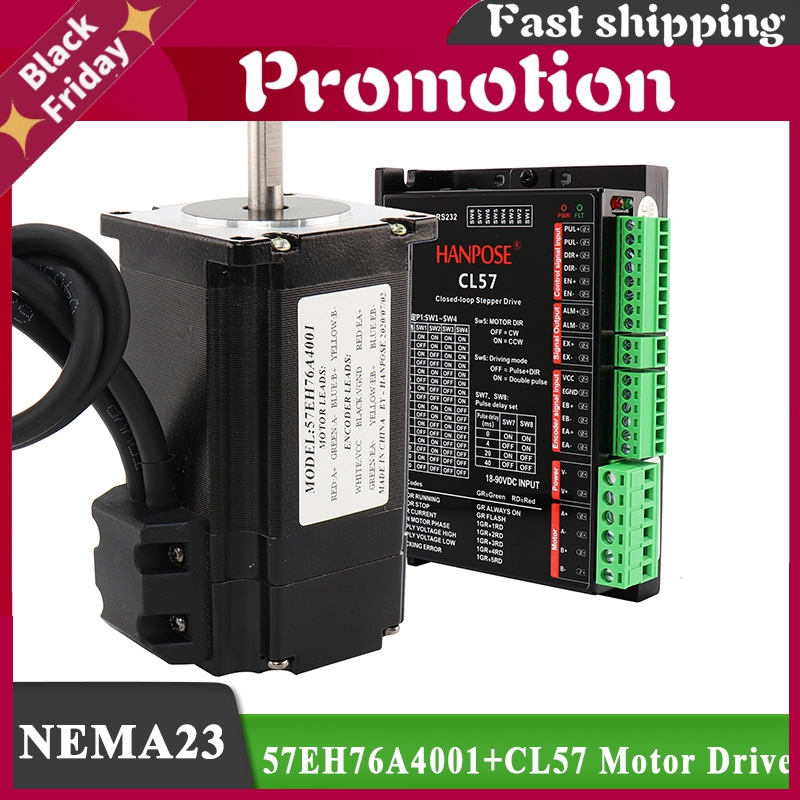 Hybrid Step-Servo Motor Nema23 Stepper Motor 4.0a 2.2n.M 57eh76 + Cl57 Closed Loop Servo Driver Cnc Controller Kit