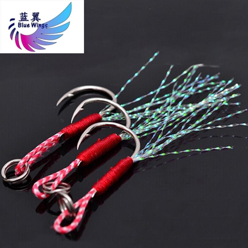 5pcs/lot Fishing Cast Jigs Assist Hook Barbed Single Jig Hooks Thread Feather Pesca High Carbon Steel Fishing Lure Slow Jigging