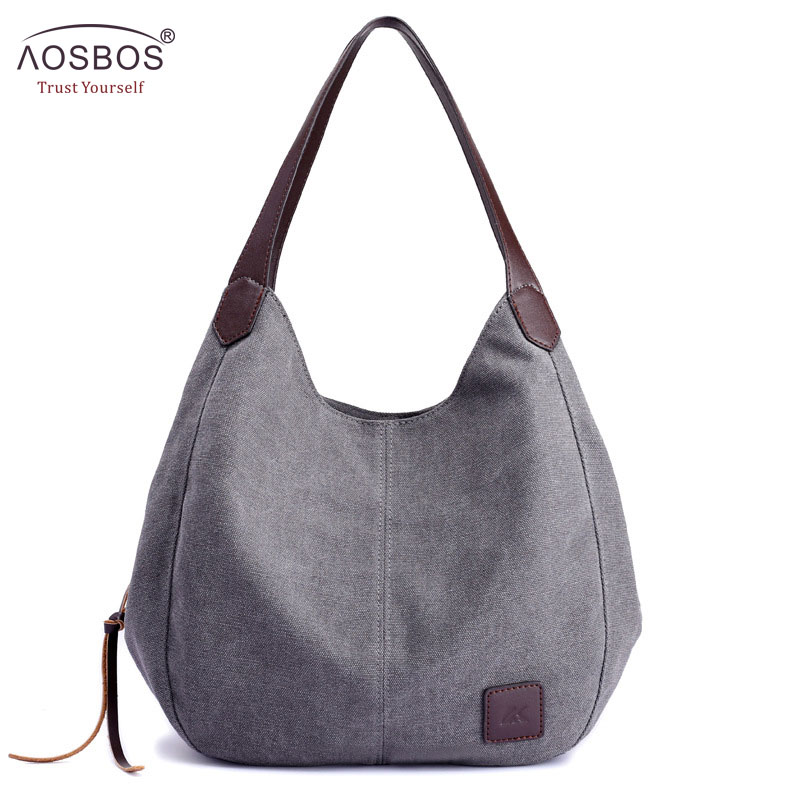 Aosbos 2019 Brand Women's Canvas Handbag High Quality Female Shoulder Bag Vintage Solid Multi pocket Fashion Ladies Totes Female-in Top-Handle Bags from Luggage & Bags