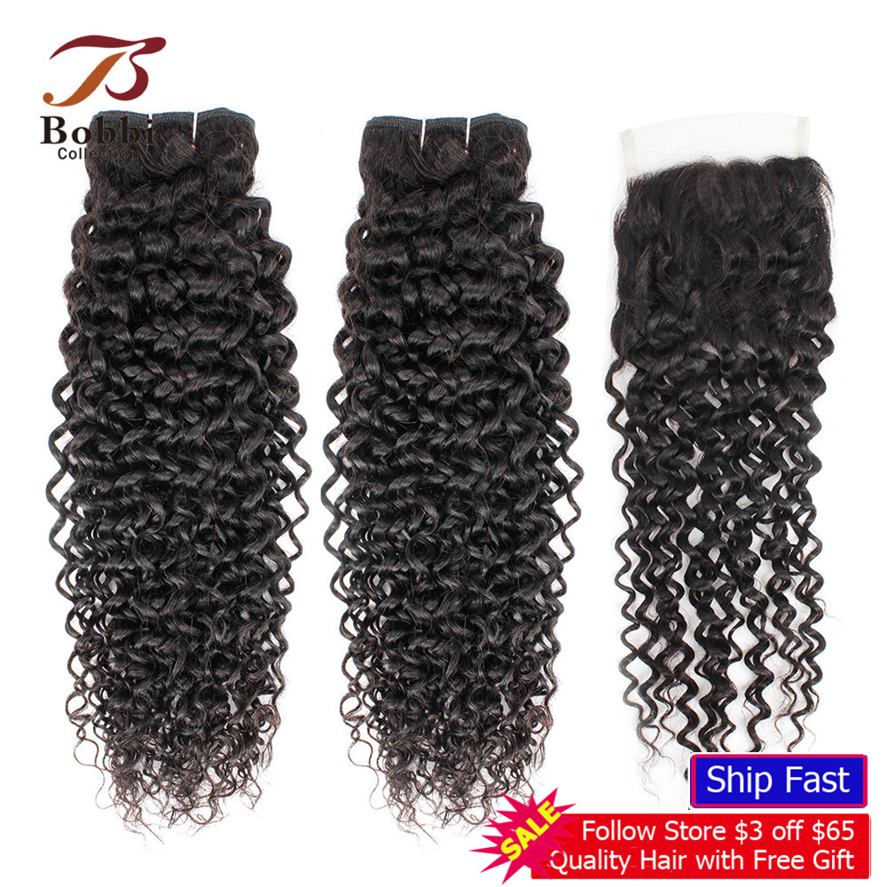 BOBBI COLLECTION Jerry Curly 2/3 Bundles With Closure Brown Brazilian Human Hair Weave Natural Color Non-Remy Hair Extensions