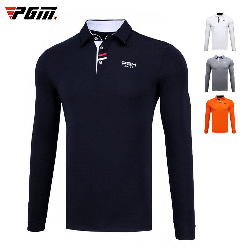 Golf T Shirt PGM Men Long Sleeved Button Collar Golf Clothing Autumn Winter Sportswear Breathable Quick Dry Size M-XXL