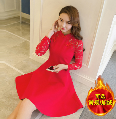 Bride Back Door Formal Dress Red Dress Children Winter 2019 New Style Pregnant Women Dress For Toast Winter Marriage Bright Red