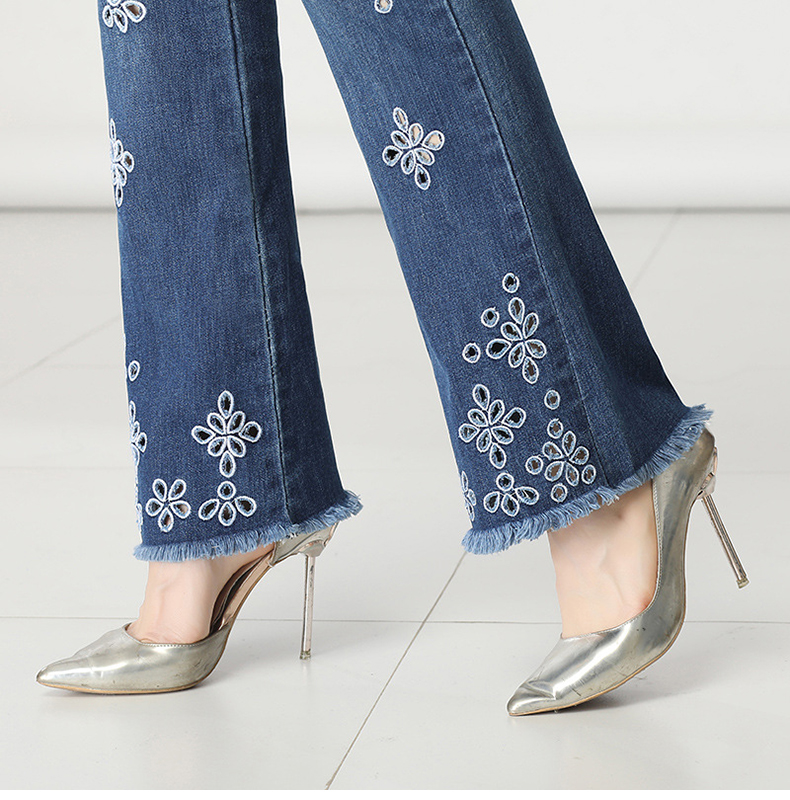 KSTUN FERZIGE High Waisted Jeans Women Stretch Blue Embroidery Woman Flares Bell-bottomed Pants Hollow Out Mom Jeans Plus Size 36 16