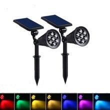 7 LED Solar Lamp Outdoor 7 Colors Spike Spotlight Garden Light Waterproof For Yard Patio Lawn Light House Safe Night Wall Light