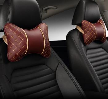 2 Pieces Car Neck Pillows Both Side Pu Leather Single Headrest Fit For Most Cars Filled Fiber Universal Car Pillow image