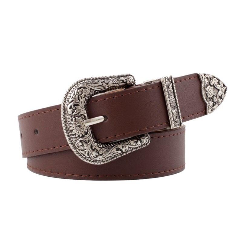 Vintage Adjustable Boho Western Belt Women Black Brown Leather Belt Female Cowboy Hight Waist Belts For Ladies Jeans Dresses