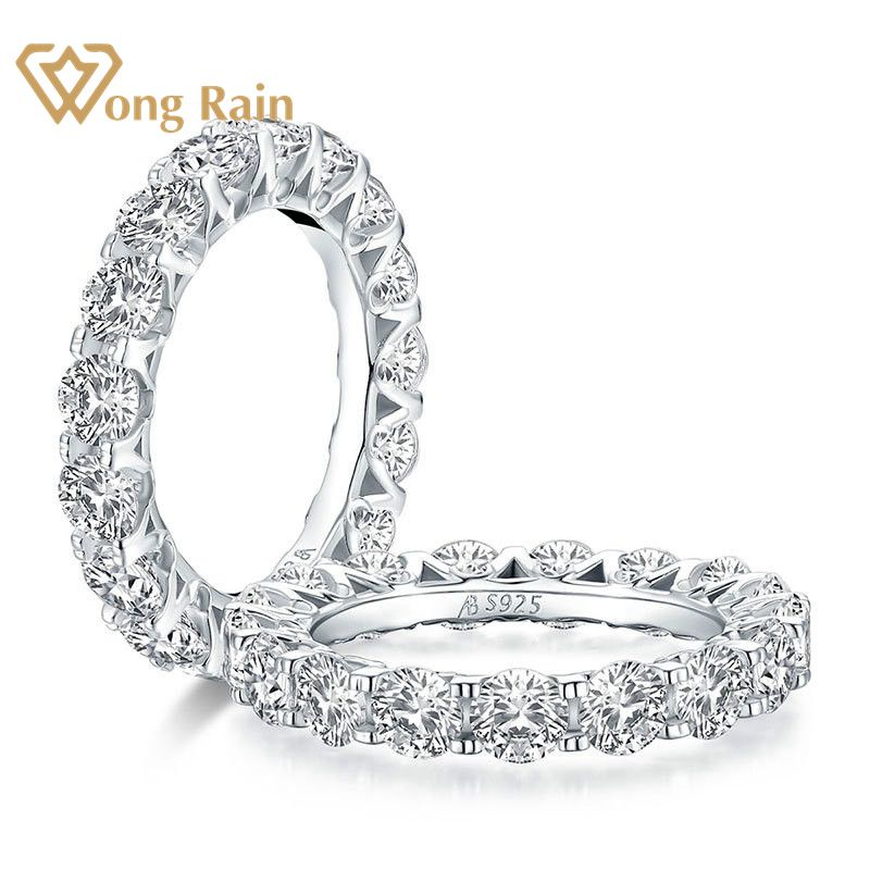 Wong Rain 100% 925 Sterling Silver Round Cut Created Moissanite Gemstone Engagement Ring Wedding Band Fine Jewelry Wholesale