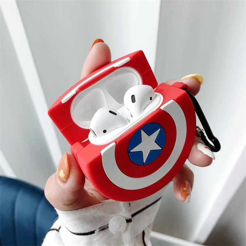 Die Avengers Captain America Airpods Tasche Cosplay 3D Abzeichen Bluetooth Headset Silica Gel Schutz Box Mode Cartoon Nette