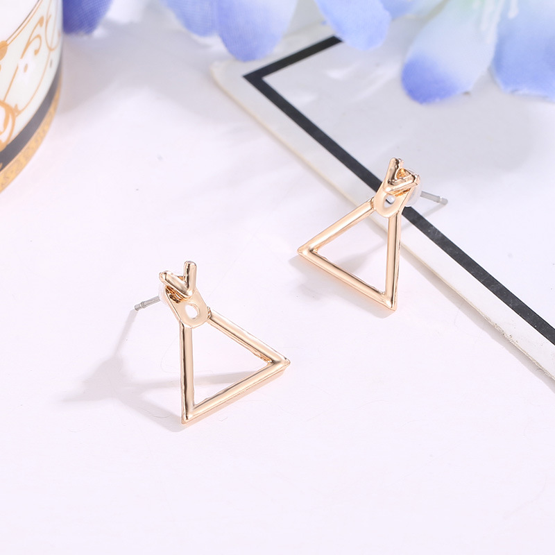 Woozu 2019 Fashion Cute Square Earrings Female Triangle Unique Design Small Geometric Earrings For Women Gift