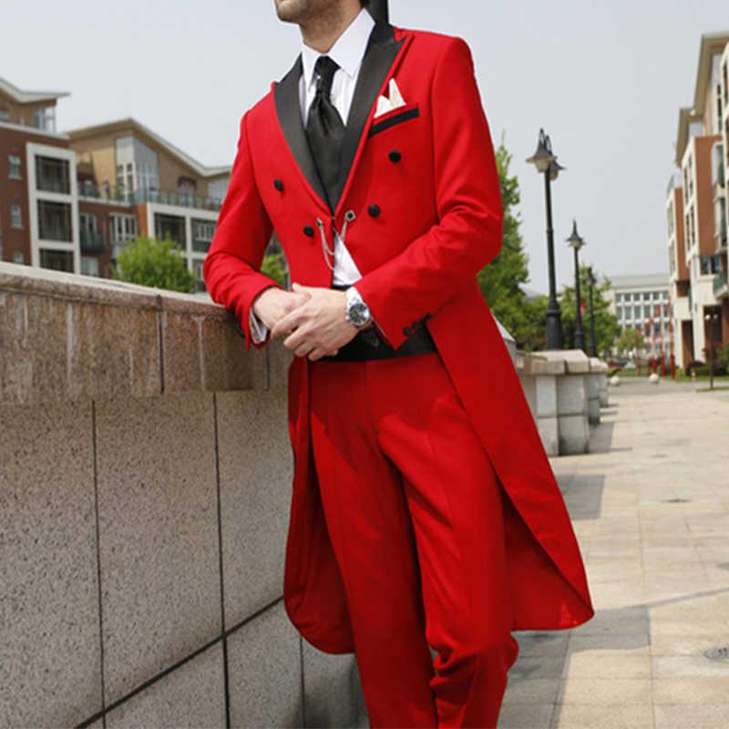 2020 uzun ceket Blazer özel erkek takım elbise düğün damat yemeği takım elbise Slim Fit smokin balo kıyafetleri iki adet takım elbise (ceket + pantolon)
