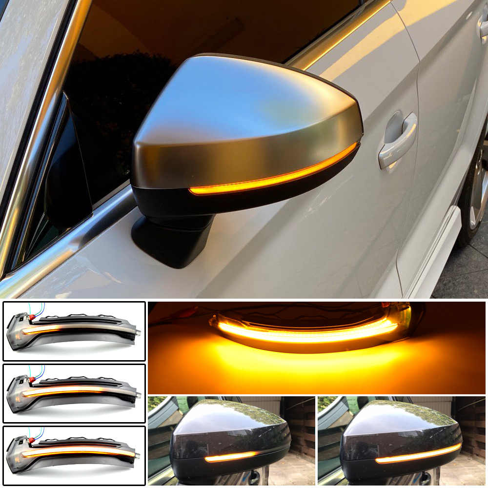 For Audi A3 8V S3 RS3 2013-2020 Flow Rearview Dynamic Sequential Mirror Flowing LED Turn Signal Light