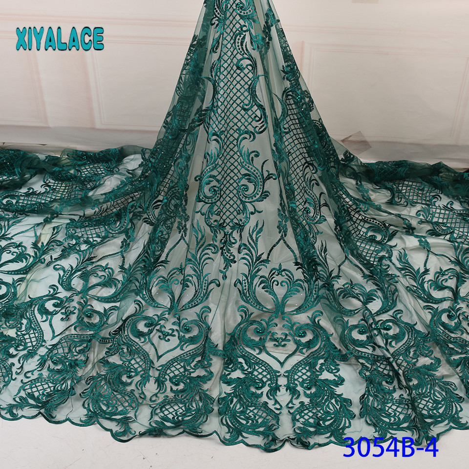 Lace Fabric 2019 High Quality Beaded Nigerian Lace Fabric Embroidery French Tulle Lace With Beads Stones For Bridal YA3054B-4