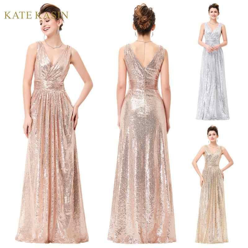 Kate kasin mulheres sem mangas com decote em v brilhando lantejoulas vestido de festa de noite formal longo maxi vestido de baile vestidos de lantejoulas elegante vestido
