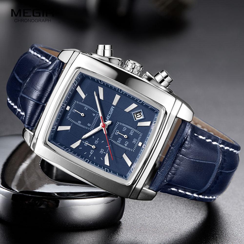 Megir Rectangle Dial Leather Strap Watch for Men Casual Blue chronograph quartz watches Man Wristwatch montre reloj часы мужские 1